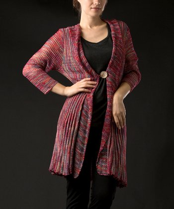 Red Three-Quarter Sleeve Cardigan