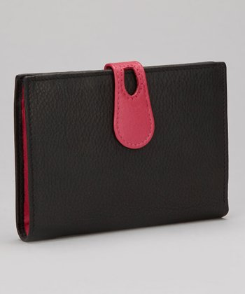 Black & Pink Large Snap Wallet