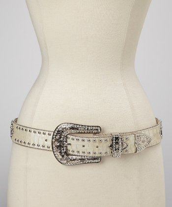 White & Turquoise Crocodile Cross Concho Studded Belt