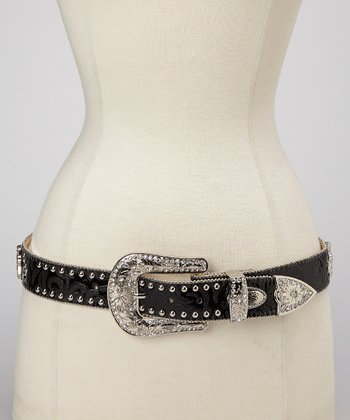 Black Zebra Cross Studded Belt