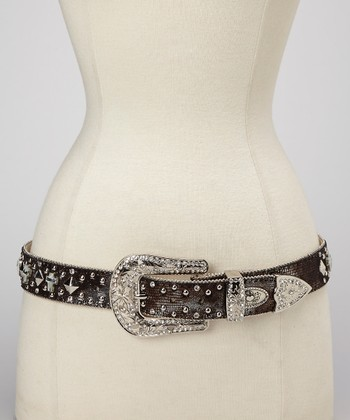 Black Snakeskin Concho Studded Belt