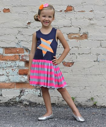 Navy & Orange Stripe Star Tank Dress - Girls
