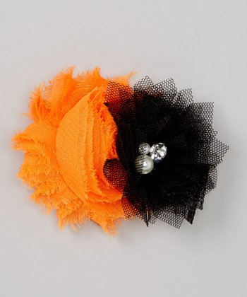Orange & Black Flower Clip