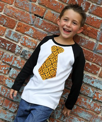 White & Orange Tie Raglan Tee - Infant, Toddler & Boys