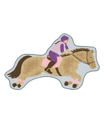 Blue Equestrian-Shape Fun Time Rug