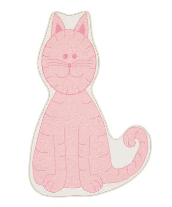 Pink Cat-Shape Fun Time Rug