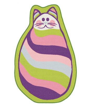 Lime Stripe Cat-Shape Fun Time Rug