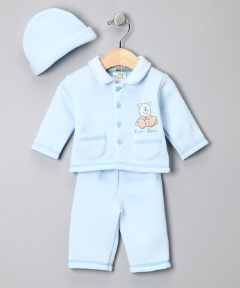 Light Blue 'Bear Bear' Sweater Set