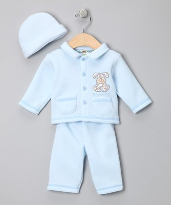 Light Blue 'Playful Pup' Sweater Set