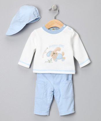 Light Blue 'Puppy Play' Sweater Set