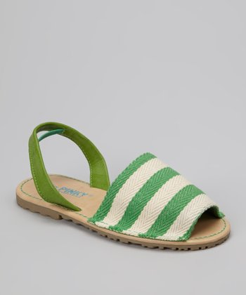 Green Stripe Earth Slingback