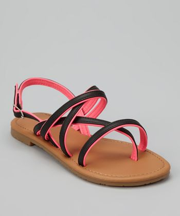 Black Two-Tone Ellie Sandal