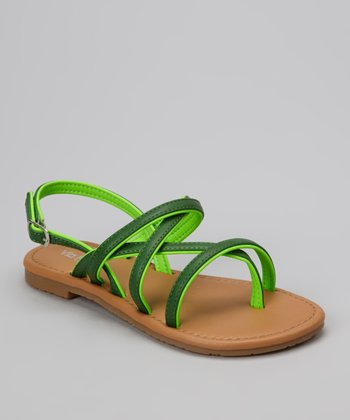 Green Two-Tone Ellie Sandal