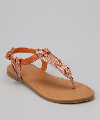 Orange Snake Ellie T-Strap Sandal