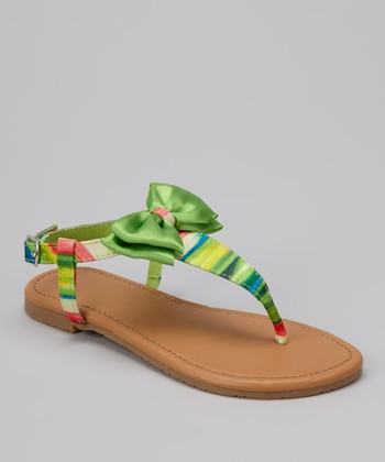 Green Bow Ellie T-Strap Sandal