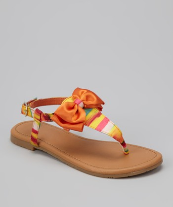 Orange Bow Ellie T-Strap Sandal