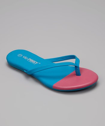 Blue & Pink Color Block Flip-Flop
