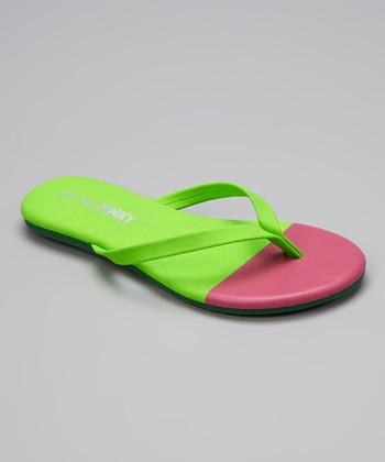 Green & Pink Color Block Flip-Flop