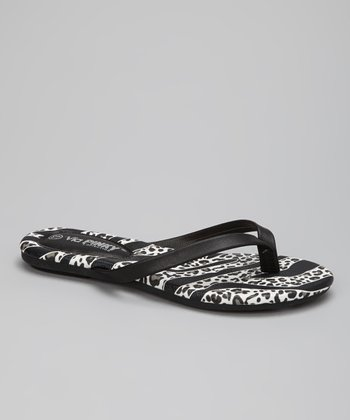 Black Safari Stripe Flip-Flop