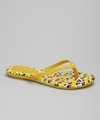 Yellow Safari Stripe Flip-Flop