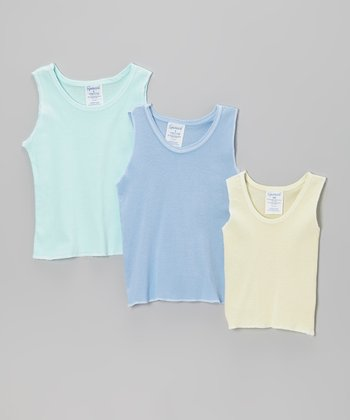 Green, Yellow & Blue Tank Set