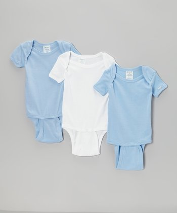 Blue & White Short-Sleeve Bodysuit Set