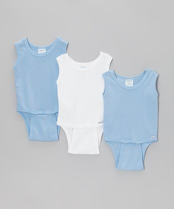 Blue & White Sleeveless Bodysuit Set