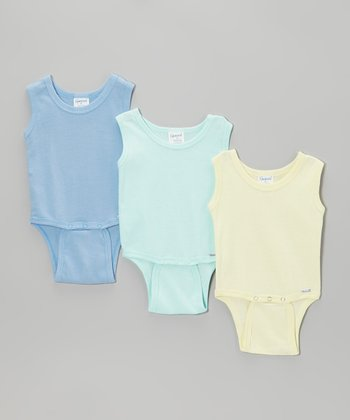 Sea Green, Blue & Yellow Sleeveless Bodysuit Set