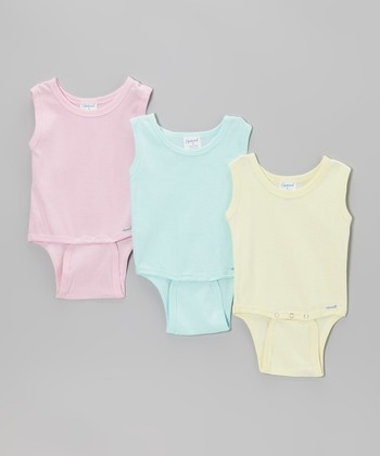 Sea Green, Pink & Yellow Sleeveless Bodysuit Set