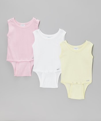 Pink, Yellow & White Sleeveless Bodysuit Set
