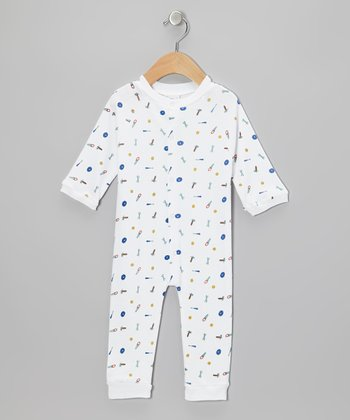 White Tool Playsuit - Infant