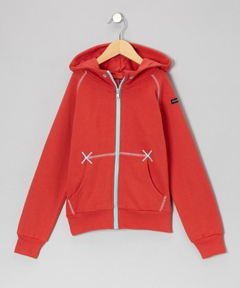 Red & Turquoise Zip-Up Hoodie - Infant, Toddler & Boys