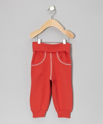 Red Fold-Over Sweatpants - Infant