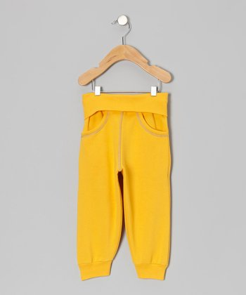 Yellow Fold-Over Sweatpants - Infant
