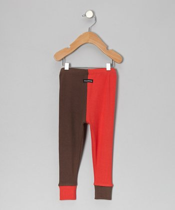 Red & Brown Cuff Pants - Infant