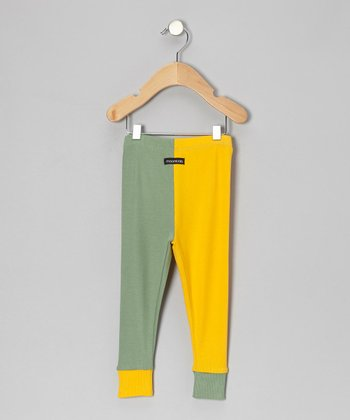 Yellow & Green Cuff Pants - Infant