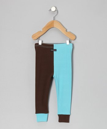 Turquoise & Brown Cuff Pants - Infant