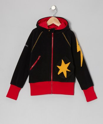 Black Star Fleece Zip-Up Hoodie - Toddler & Boys