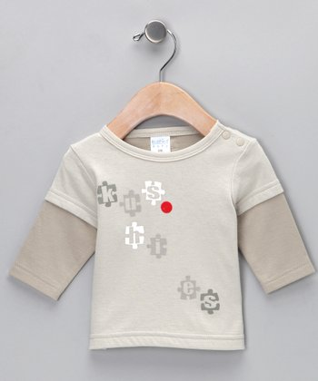 Light Putty Layered Puzzle Tee