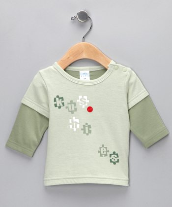 Light Celery Layered Puzzle Tee