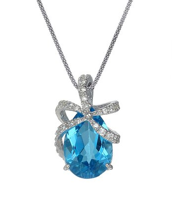 Blue Topaz & Sterling Silver Pear Wrap Pendant Necklace