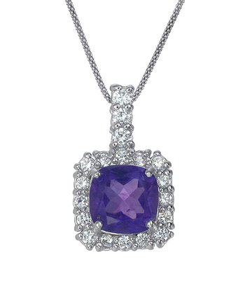 Purple Amethyst & Sterling Silver Pendant Necklace