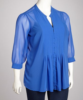 Dark Marine Blue Chiffon Top - Plus