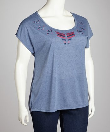 Soft Navy Linen-Blend Top - Plus