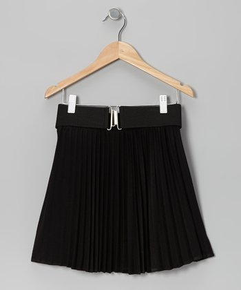 Black Pleated Skirt & Belt - Girls