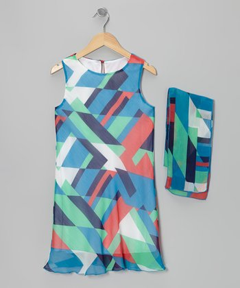 Blue & Orange Abstract Chiffon Dress & Shawl - Girls