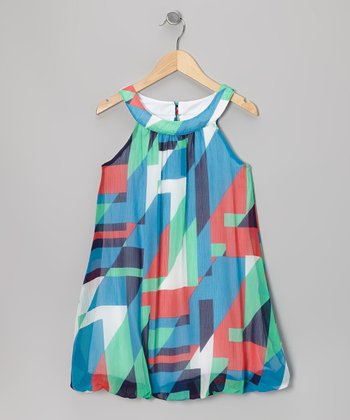 Blue & Orange Chiffon Bubble Dress - Girls