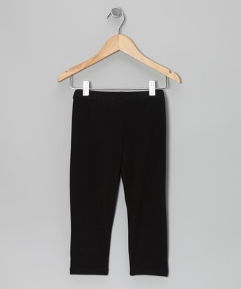 Black Knit Capri	Pants - Girls