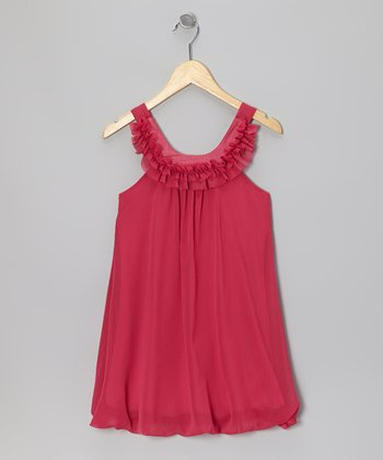 Fuchsia Chiffon Ruffle Yoke Dress - Girls