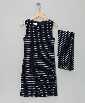 Navy & White Polka Dot Dress & Scarf - Girls
